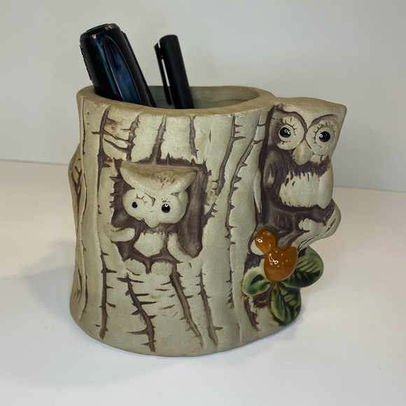 Vintage 70s Kitschy Owl Tree Pencil Holder Cup